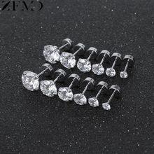 ZEMO 6 Pair Round Zircon Ear Studs Earrings Women's Helix Earrings Stainless Steel Earrings Studs Cartilage Piercing Ear Jewelry цена