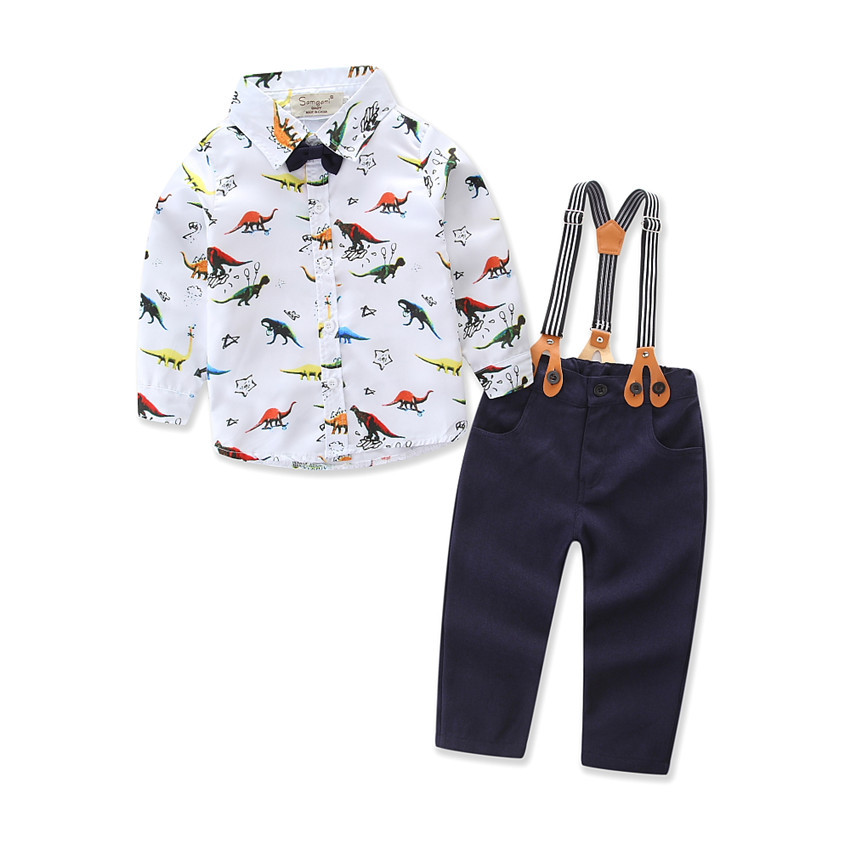 Fashion Wedding Party Baby Boys Clothes Sets Cartoon Dinosaur Shirt With Bowtie+Bib Pant Toddler Infant Kids Outfit Costume 2pcs