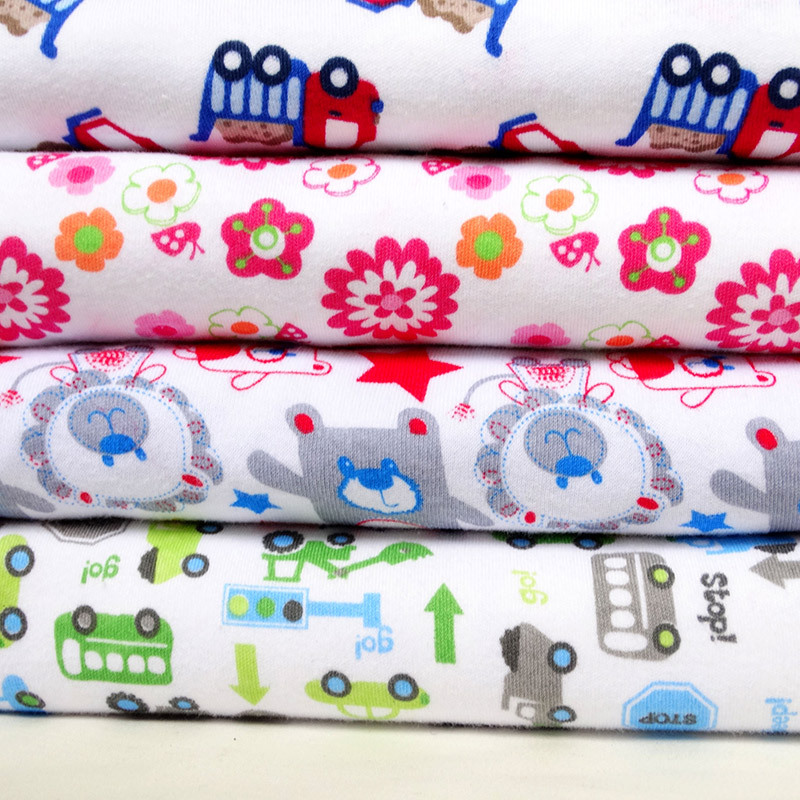 Cartoon printed baby knitted fabrics stretch fabric cotton for Cheap baby fabric
