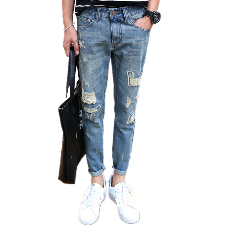 YG6129-5 Cheap wholesale 2017 new Patch hole haroun pants jeans men nine points jeans cultivate one's morality pants wangcangli new jeans large size jeans women fat striped hole nine pants rope elasticity was thin pants