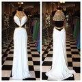 Oro Sexy Largos Vestidos De Fiesta Blanco 2017 Cuello Alto Corte fuera Cintura Illusion Pura Volver Formal Desfile Vestidos de Noche Del Partido vestidos