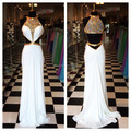 Sexy Gold Long White Prom Dresses 2017 High Neck Cut Out Waist Sheer Illusion Back Formal Pageant Dresses Party Evening Gowns