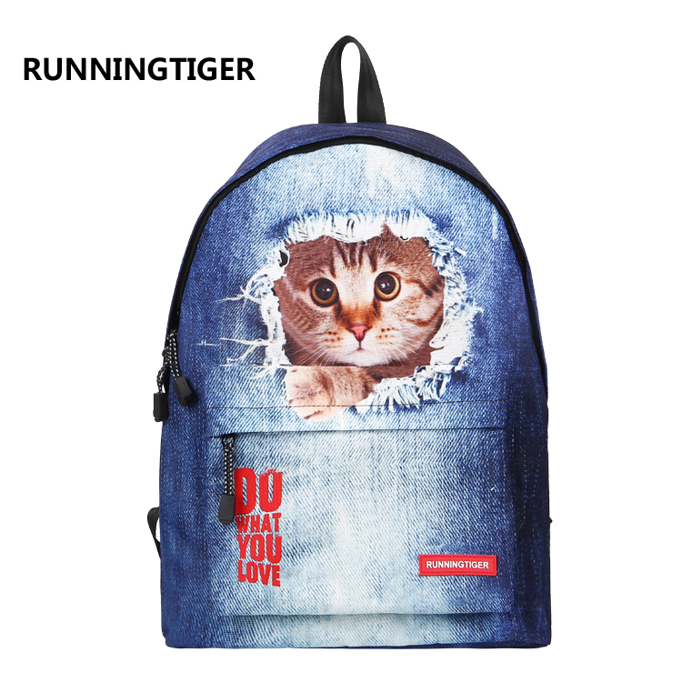 2017 Fresh Nylon Backpack Big Girl Student Book Bag Cute Dog Printing Backpack High Quality Ladies School Bag For Teenager