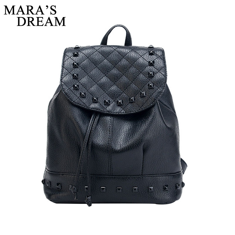 Mara's Dream Fashion Backpack Rivet Travel Bag PU Backpack For Women School Student Teenage Girl Mochila Escolar Women Backpack