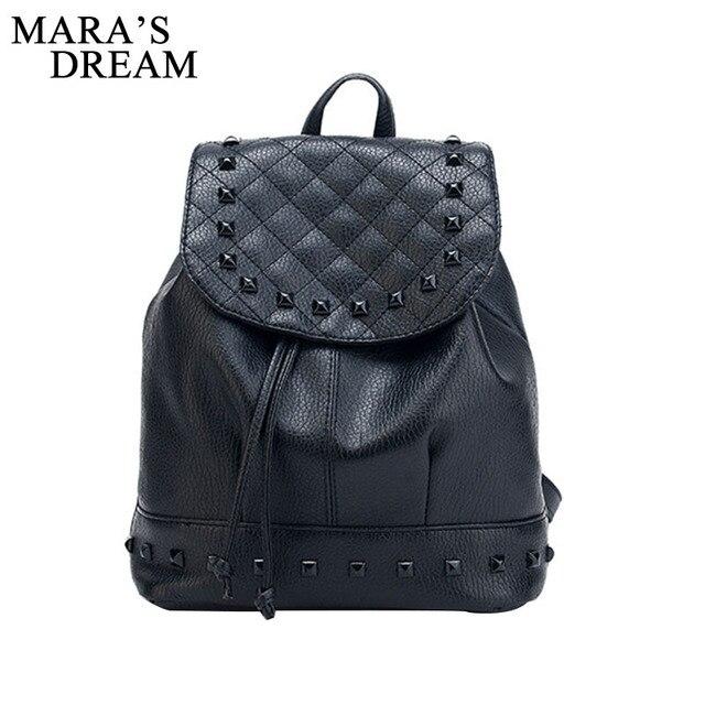 Mara s Dream Fashion Backpack Rivet Travel Bag PU Backpack For Women School  Student Teenage Girl Mochila 342541e34a
