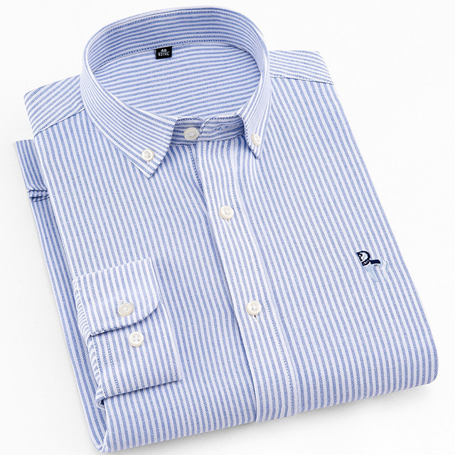 23eaa1816e2 Mens Shirts Striped Oxford Embroider Men Cotton Dress Shirts Casual Slim Fit  Long Sleeve Classic Contrast Male Button Down Shirt