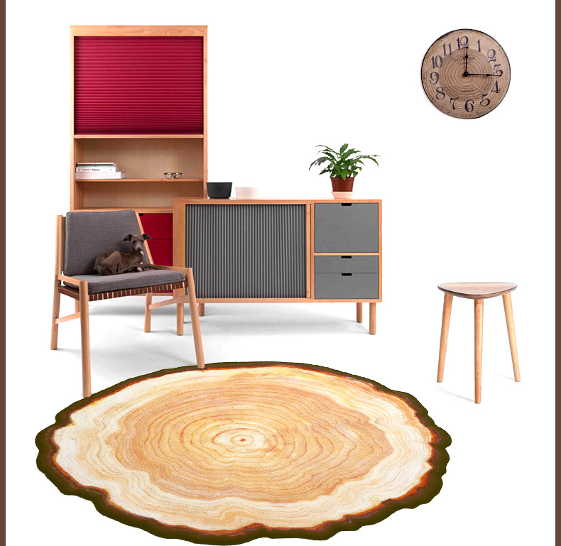 3D Wood Tree Annual Ring Round Carpet for Bedroom Computer Chair Area Rugs Kids Bathroom Play Mat Coffee Table Mats 80/100cm