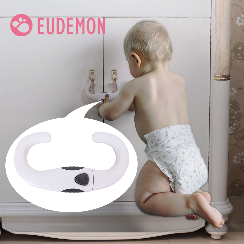 EUDEMON 2pcs Baby Safety Lock Ear Shape Kids Baby Cabinet Locks Children Protection Cabinet Security Door Locking ABS Plastic