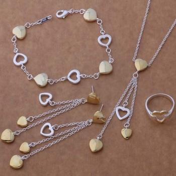 Juegos de joyas para mujer AS282 Lucky Silver Color 925 pulsera 112 + collar 607 + pendiente 295 + anillo 231/bnqakexa Alqajcxa
