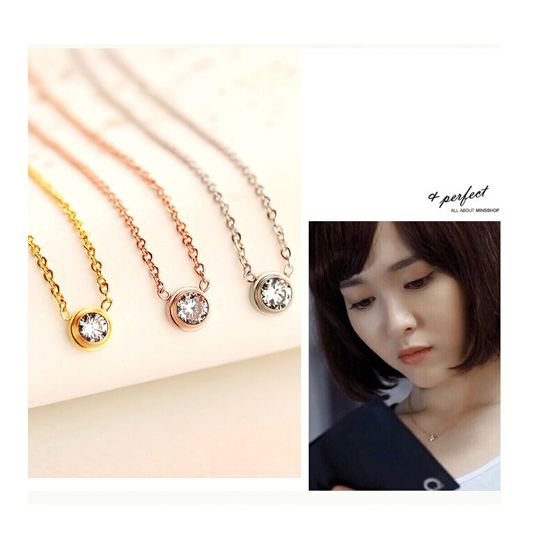 Simple Crystal pendant Necklace AAA zircon Rose gold Silver color single round exquisite Charm Clavicle Chain Female Jewelry in Chain Necklaces from Jewelry Accessories