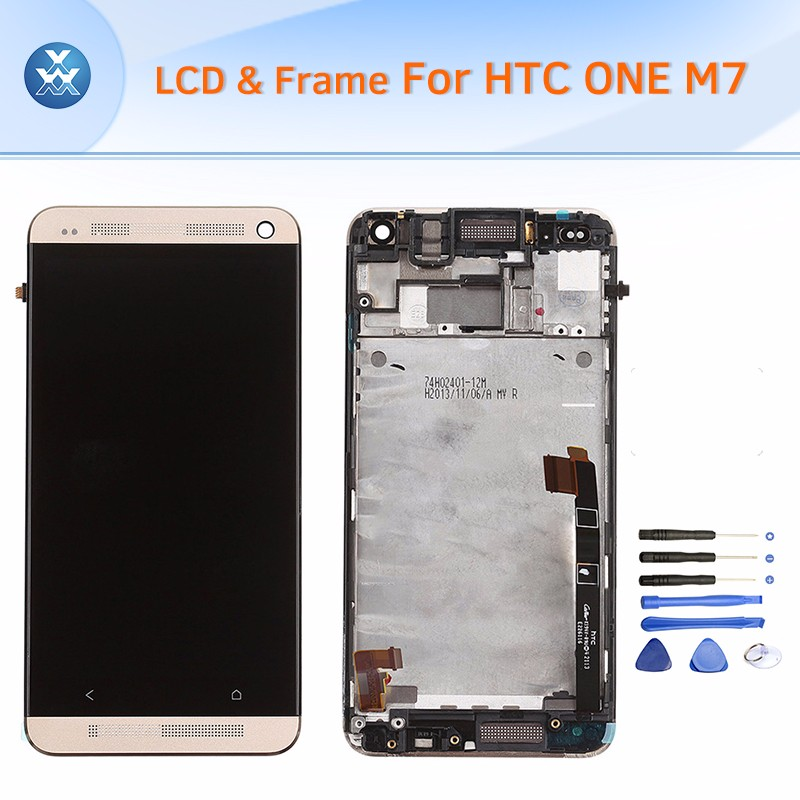 HTC One M7 LCD & Digitizer Assembly with Frame - Gold