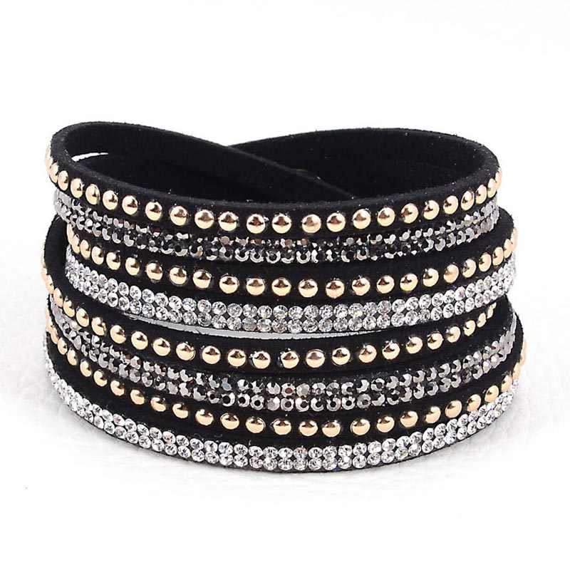 Miasol Double Wrap Leather Pave Crystal Bling Bracelets Multilayers Wrapped Rhinestones Bracelets Bling Bangle For Women Gift