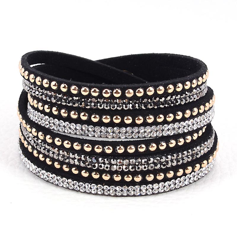 Double Wrap Leather Pave Crystal Bling Bracelets Wrapped