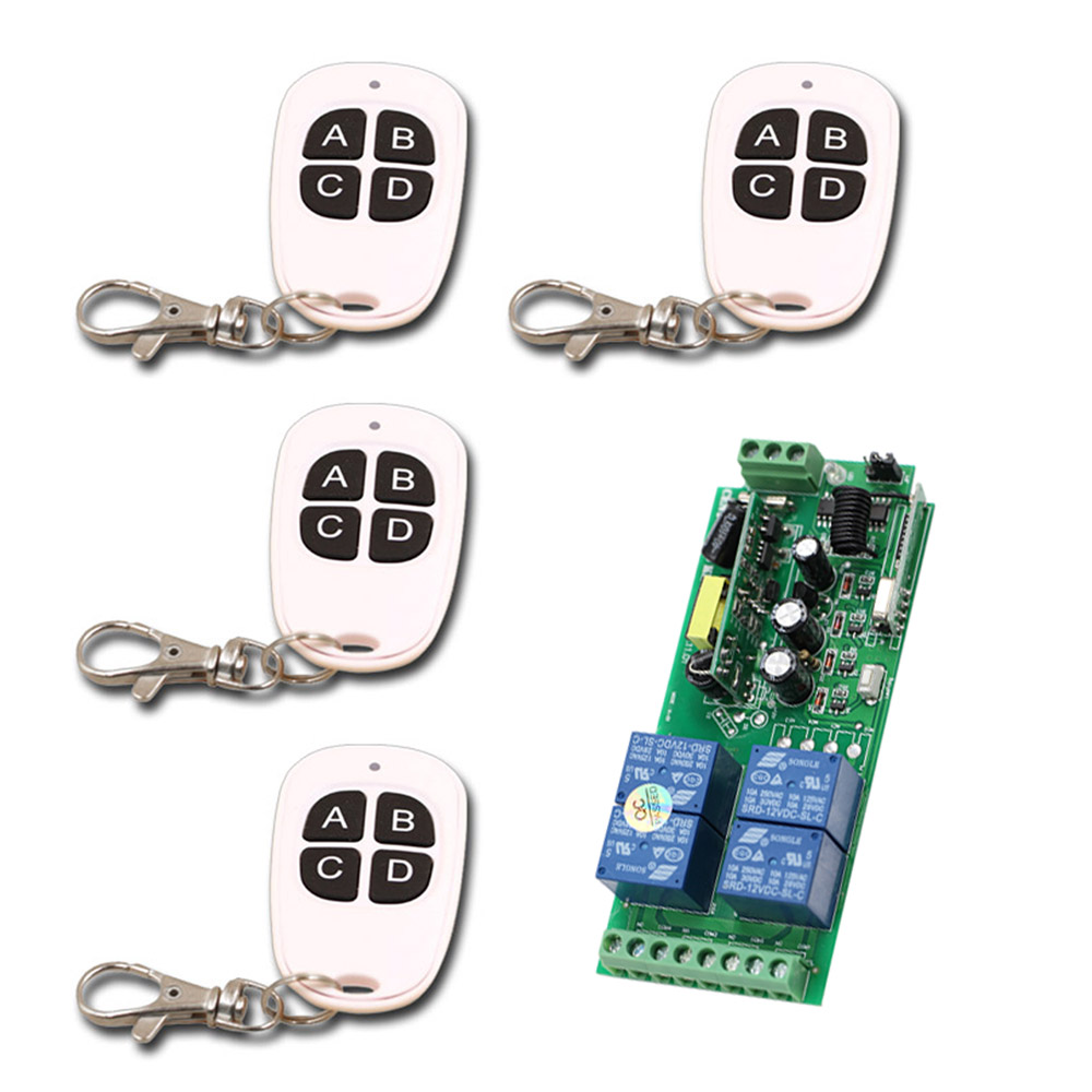 Wide Voltage 85V 110V 220V 250V 4 CH RF Wireless Remote Control Switch 1* Receiver +4* Transmitters for Smart Home Good Quality 2pcs receiver transmitters with 2 dual button remote control wireless remote control switch led light lamp remote on off system