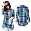 women plaid shirt collar long sleeve casual women shirt new fashion