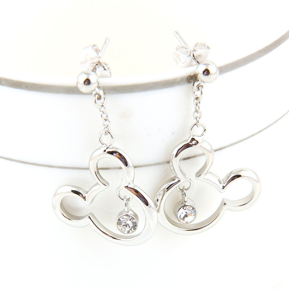 Mickey Mouse Pendant Necklace and Earrings Set For Girls