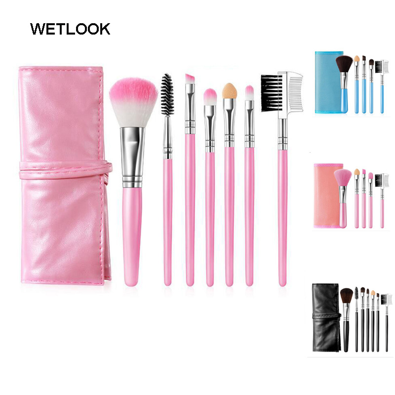 Profession High Quality 7 Makeup Brush Set Kit in Sleek Leather Bag Portable Make up Brushes Blending Brush Wholesale With bag professional high quality 7 pcs makeup brushes set toiletry kit in sleek case portable make up brush set cosmetic tool