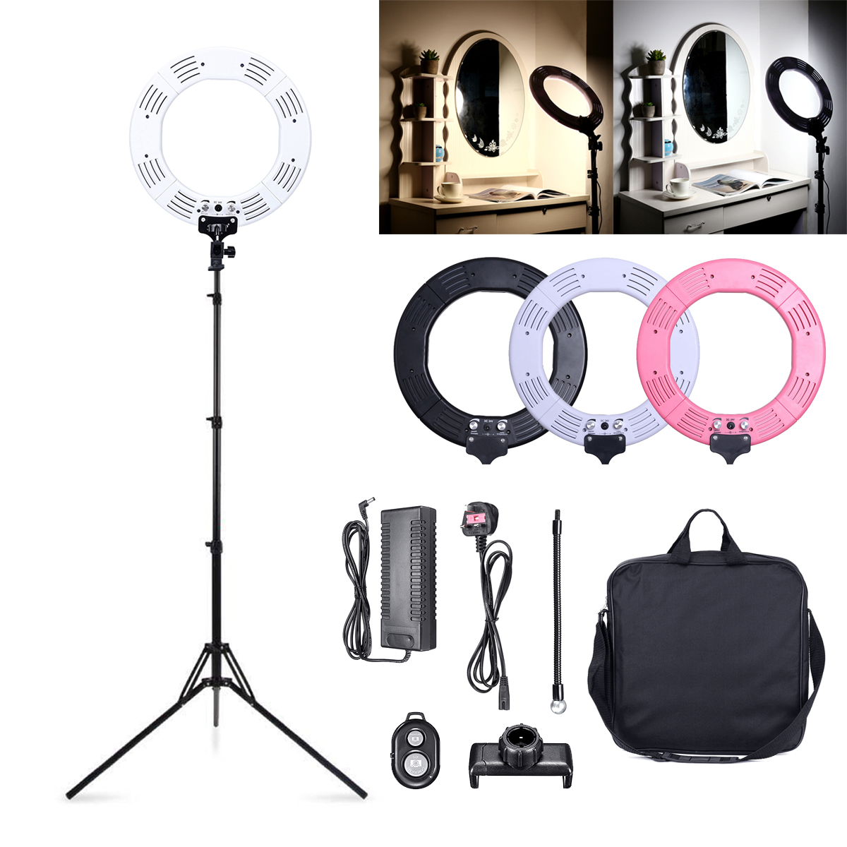 Smuxi Dimmable Diva 12''/18'' 60W LED Studio Ring Light Beauty Make Up Selfie for Camera Photography Studio LED Light neewer table top mini led ring light lighting kit includes for beauty blog make up selfie studio portrait video photography
