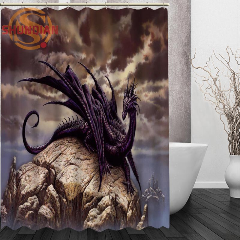 Dragon Shower Curtain Eco Friendly Modern Fabric Polyester Custom Home Decor Curtains For Kids In From Garden On Aliexpress