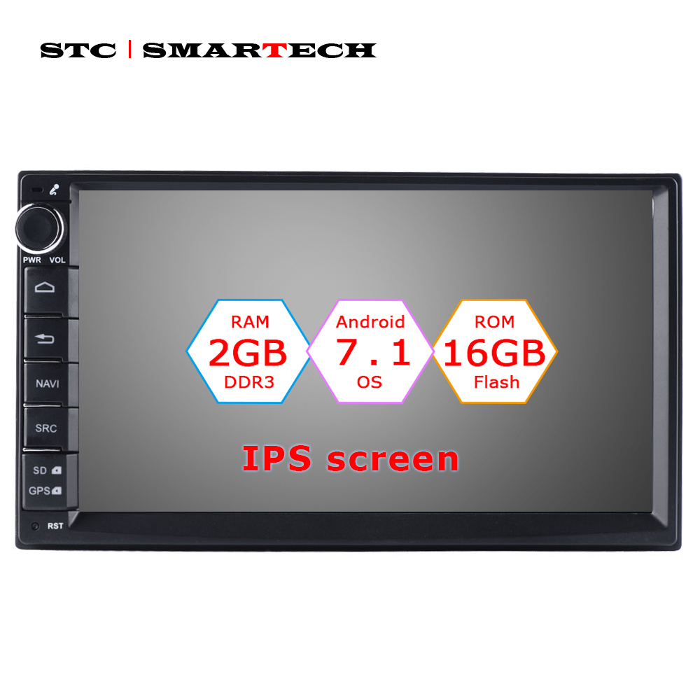 SMARTECH 2 Din Car Radio GPS Navigation Android 7.1 OS 2GB RAM 16GB ROM Quad Core Autoradio Support 3G WIFI OBD Bluetooth DAB android 8 0 dab autoradio sat navi wifi 3g rds sd dvr obd bluetooth dtv in car gps navigation player for ford transit focus