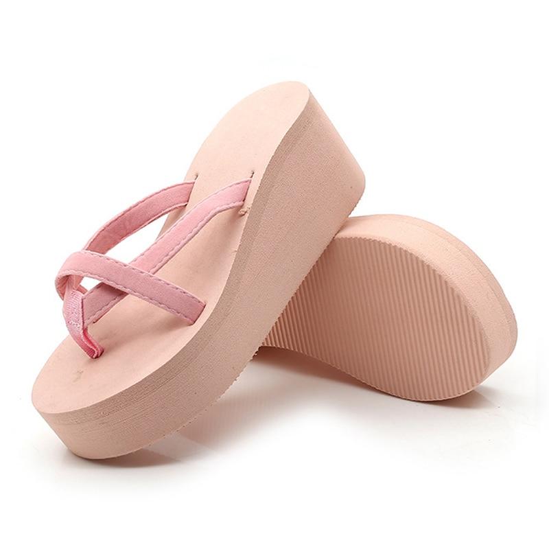 Laamei Platform Sandals Women High Heel Zapatillas Summer Shoes Fashion Straped Slippers Beach Flip Flops Solid Slides Women