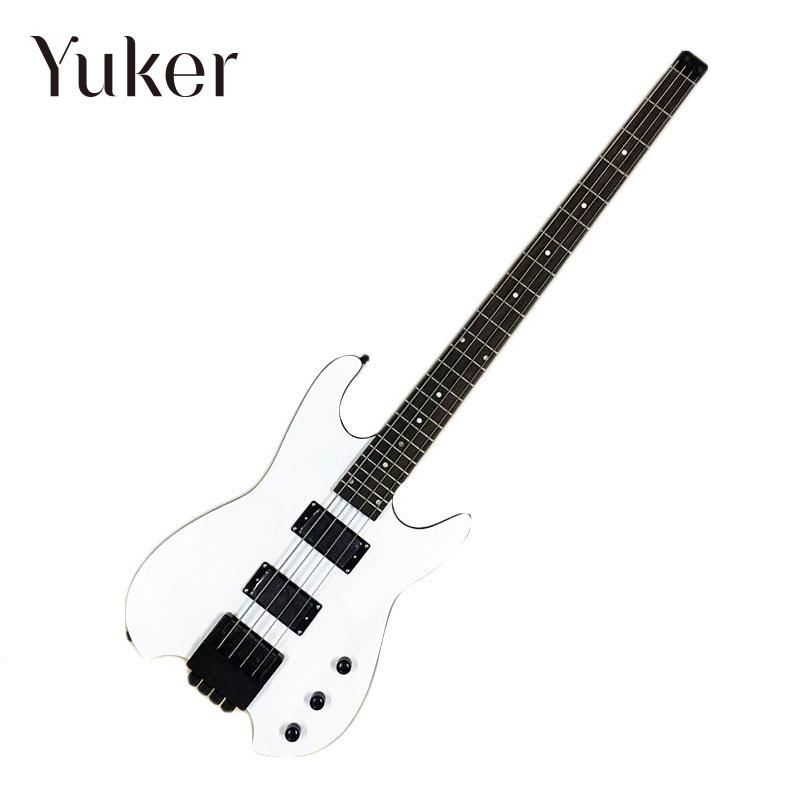 Yuker headless bass guitar  4 string basso elettrico 4 corde  china custom shop guitars china custom fretless 4 string music man electric bass guitar in glossy black in stock