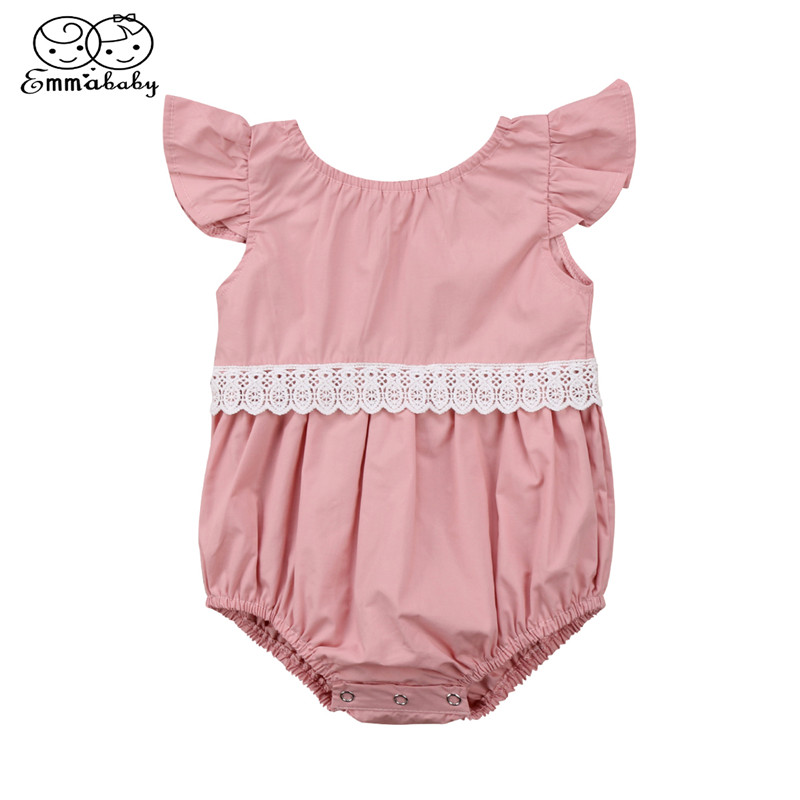 Lovely Baby Girls Fly-sleeve Romprt Newborn Baby Girl Lace Patchwork Romper 2018 Summer New Pink Yellow Jumpsuit Sunsuit Outfit ...