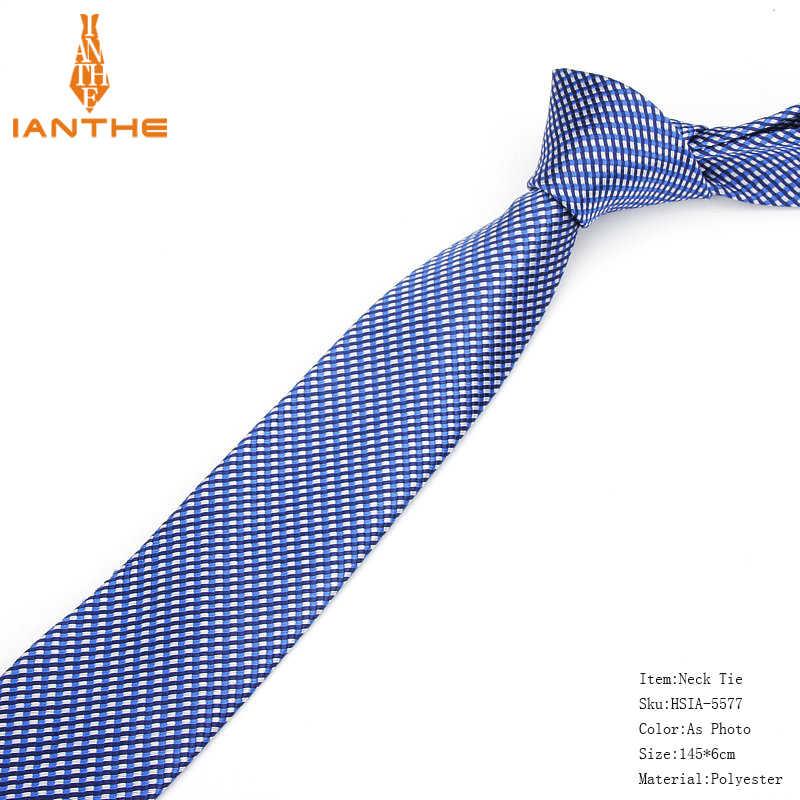 Novo formal laços para homens clássico poliéster tecido xadrez pontos festa gravata moda magro 6 cm casamento negócios masculino casual gravatas