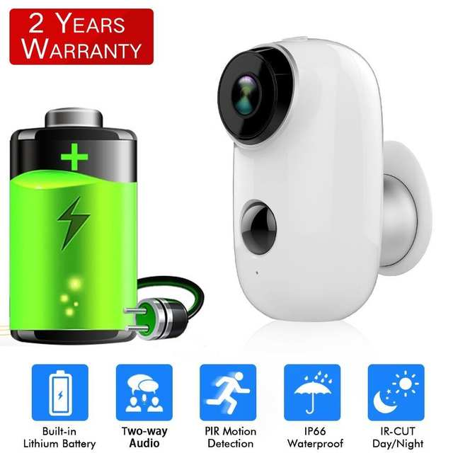 SDETER Rechargeable Battery Wireless IP Camera-WIFI Weatherproof Outdoor  Indoor IP65 CCTV Security Camera PIR Motion Sensor Cam