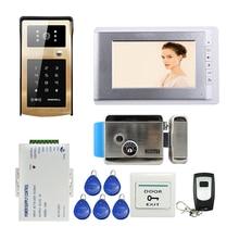 ENVÍO GRATIS Wired 7 pulgadas TFT Monitor de Videoportero Sistema de Intercomunicación Timbre de la Puerta RFID Teclado de Metal de Oro Al Aire Libre de La Cámara E-Lock