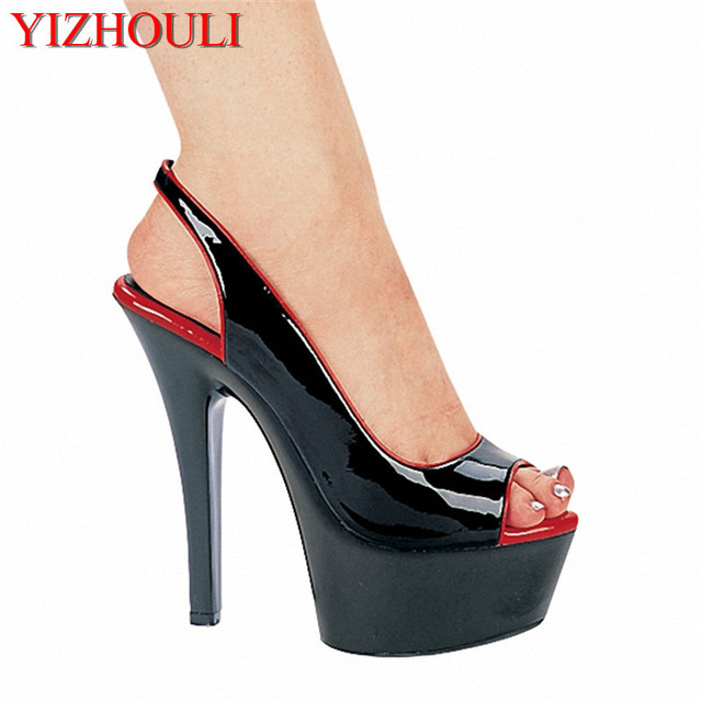 b438253804c8 15cm Sexy High-Heeled Shoes Formal Dress Shoes Open Toe Sandals Sling Peep- Toe Platform Sandals With 5 3 4 Inch Stiletto Heels