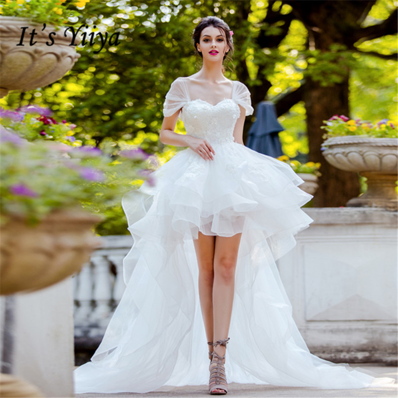 It's YiiYa   Prom     Dress   Beading Appliques Lace White Wedding Formal   Dresses   Off Shoulder Tiered Design Train Paty Gown E167
