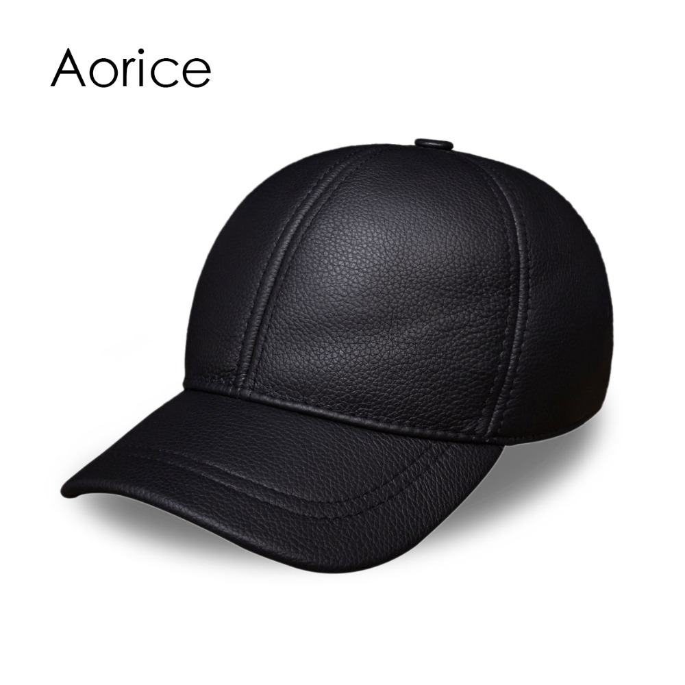 HL130 Men's genuine leather baseball cap hat brand new style spring warm  caps hats genuine leather peak baseball cap hip hop hats men s winter outdoor thick warm ear protection hat elderly leather cap b 7206