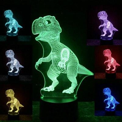 3D Illusion Dinosaur Halloween Mask 7 Color Led Touch Bulb Decoration Animal Light Up Glow In The Dark Toys Christmas Boys GiftNovelty & Gag Toys