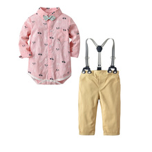 QAZIQILAND Autumn Toddler Baby Boys Gentleman Clothes Sets Long Sleeve Romper+Suspenders Pants 2Pcs Wedding Party Casual Outfits