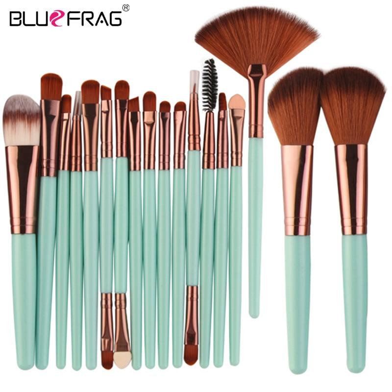 Plein Professionnel Maquillage Kit Ensemble Maquillage Brosses Outils Poudre Fondation Blush Ombre À Paupières Mélange Beauté Make Up Brush 18/15 Pcs