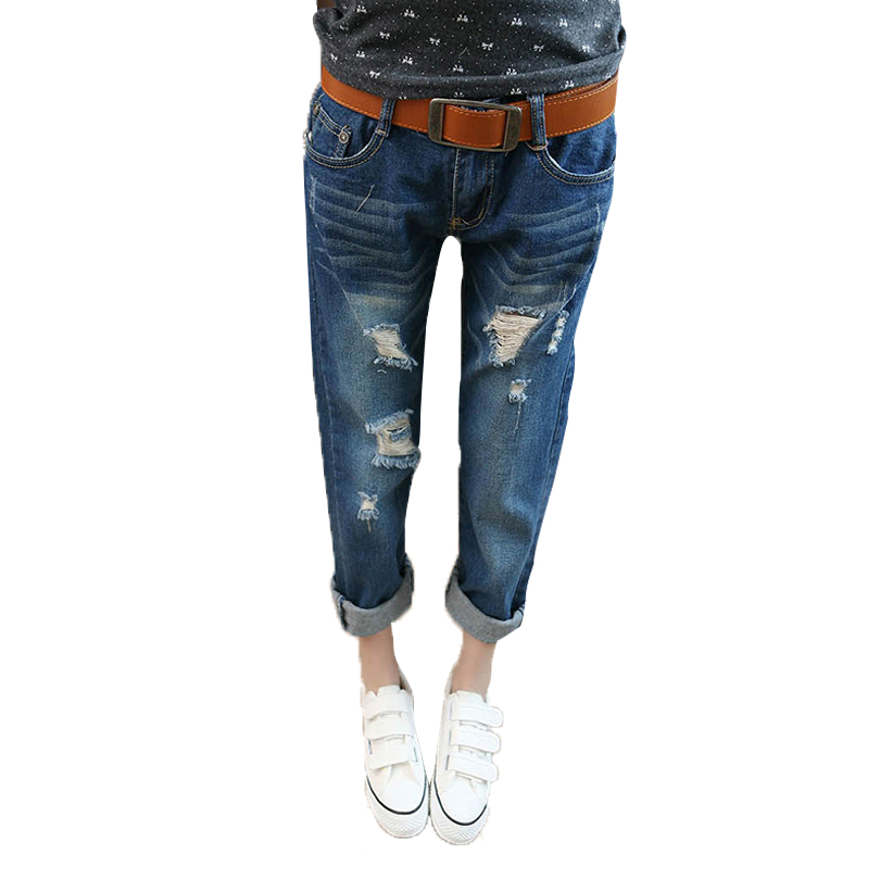 Loose Jeans for women Ripped jeans Feminino Boyfriend Harem Pants Bleached Cotton Denim 2017 Spring