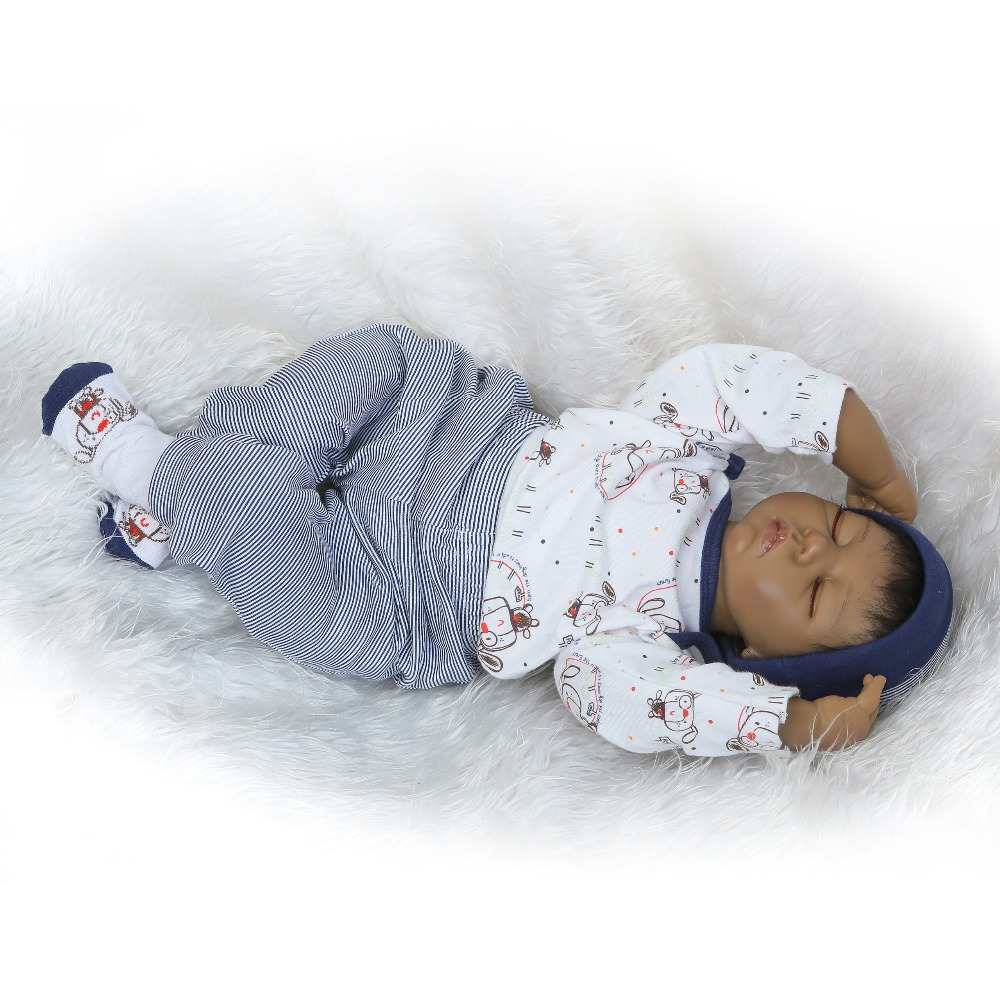 NPKCOLLECTION reborn doll with soft real gentle  touch 2018 new 22inch silicone vinyl  lifelike newborn baby sleeping sweet baby 2017 new design reborn sweet baby doll soft real gentle vinyl silicone touch body and wig hair
