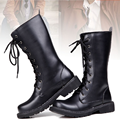 Winter Fashon Men Boots High Punk England Trend PU Leather Lace-up Riding Men Shoes Matin Performance Men Boots Botas Hombre