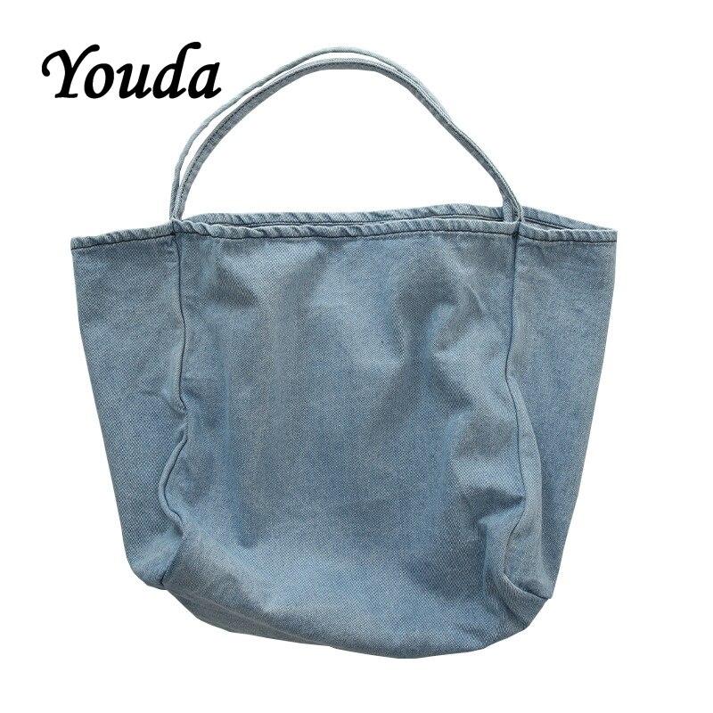 Profondo Fresh Donne Letterario Youda Denim Tote Azzurro Femminile Shopping Di Bag Delle Borse In Cielo azzurro Modo Casual Capacità Portatile Grande Borsa 4Tqw1pqFx