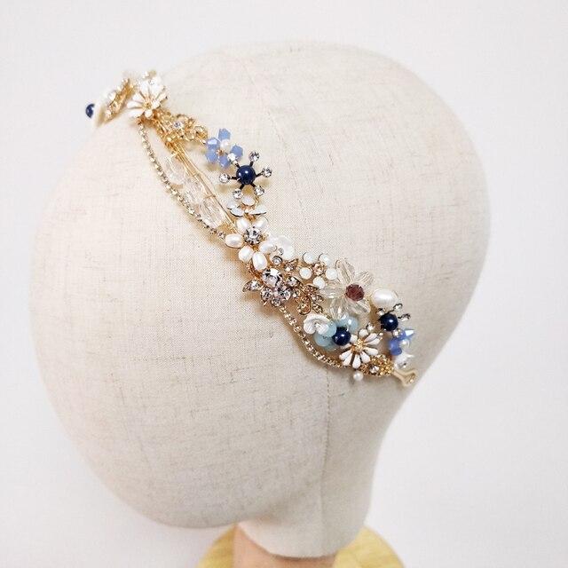 Blue Flower Bridal Headband Handmade Crystal Wedding Headpiece Prom Hair Jewelry 2019
