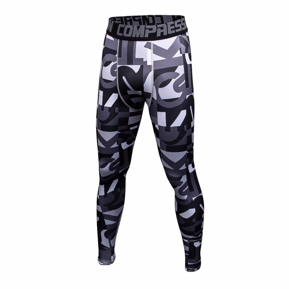 Men Compression 3D Print Running Sport Pants Men Quick Dry Skinny Leggings Tights Men Fitness Slim MMA Pants Stitching Tousers