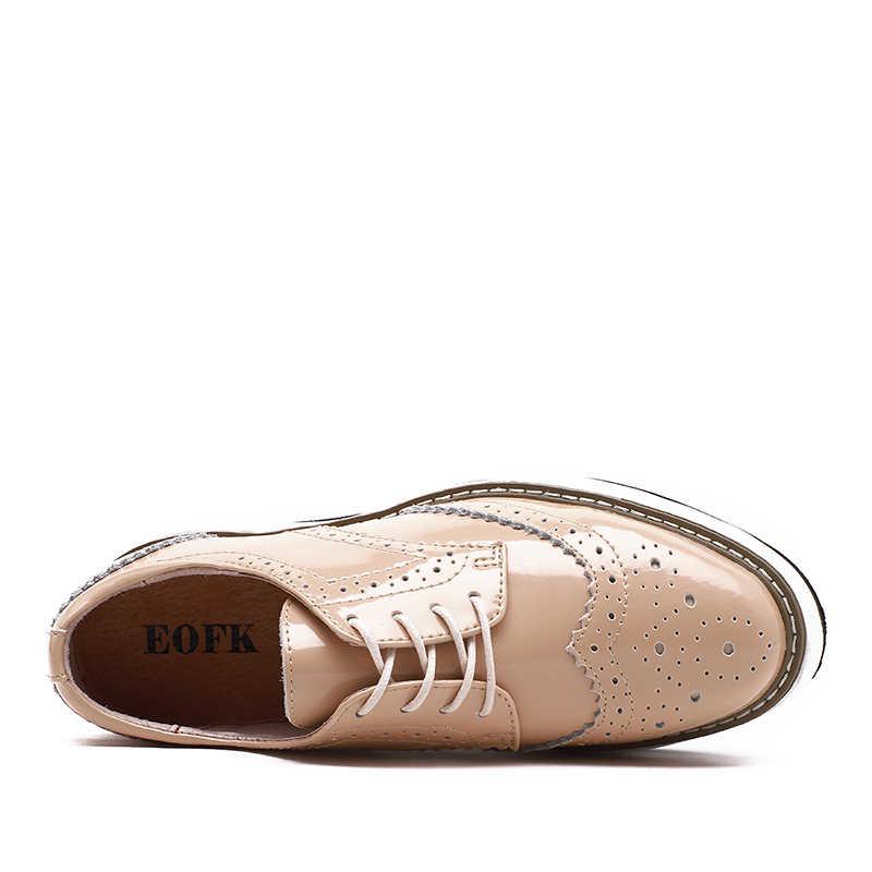 EOFK женские Туфли женская Женщина Лакированной Кожи Квартиры Зашнуровать Обувь Женская Плоским Оксфорд Обувь женщины дерби обувь ЛАКИРОВАННЫЕ ОКСФОРДЫ женскую обувь