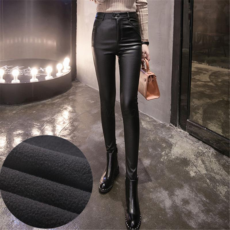 Plus Size 3XL Women Leather Pantalon Femme High Waist Micro Stretch Jeggings Pencil Pants Black Fleece Lined Leggings Trousers
