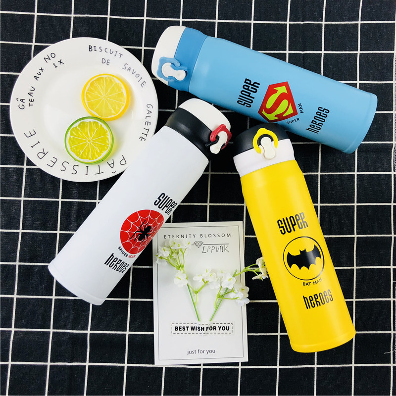 NEW 500ML Game Super Hero Insulated Vacuum Flask Sports Outdoor Thermos Water Bottle League Coffee Mug Pop-up Lid Thermals Cups