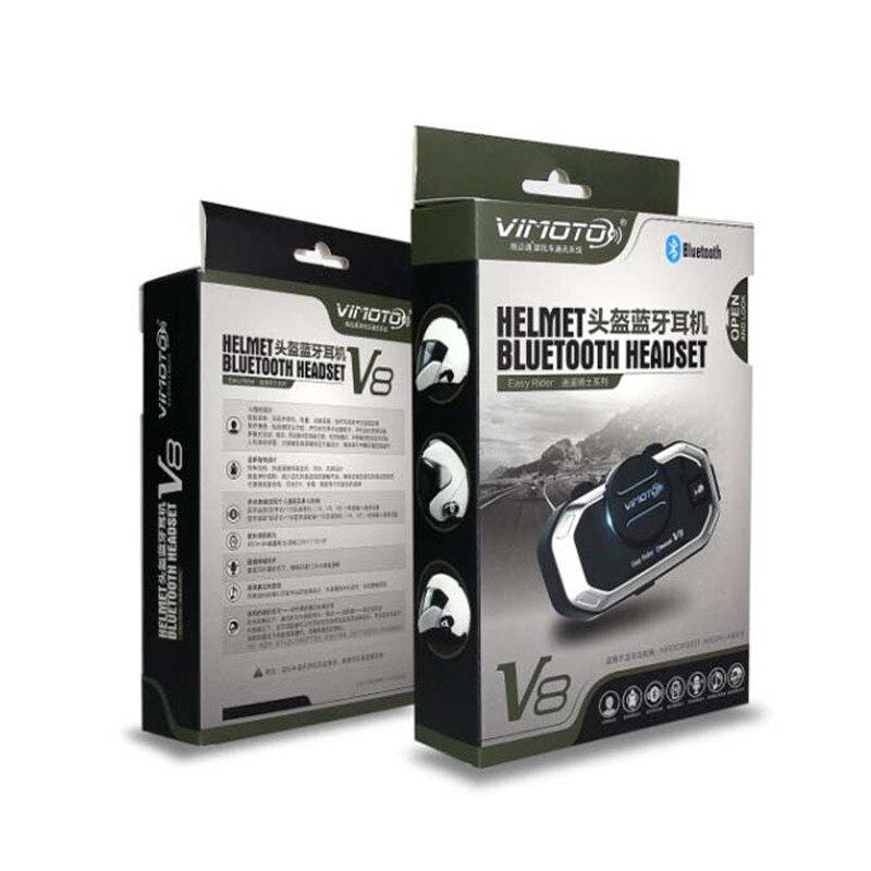 Image 5 - 2pcs Vimoto V8 850mAh Motorcycle Multi functional Helmet  Bluetooth Headset Motorbike Stereo Headset For Two Way Raidohelmet  bluetooth headsetbluetooth headset motorbikevimoto v8 -