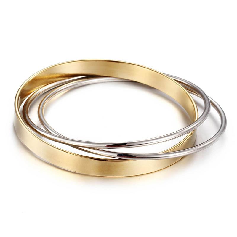 2017 nový příchod 3 kruh milostný náramek pro ženy móda 2 barvy růžové zlato / zlato-barva z nerezové oceli náramek Utb8034