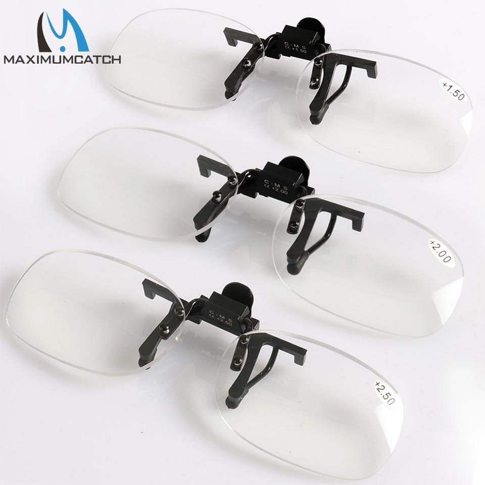 Maximumcatch Clip on Presbyopic Magnifying Glasses +1.5+2.0+2.5 Rimless Portable lens Reading fishing Glasses