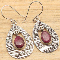 Red Cut RUBY VINTAGE STYLE Earrings Silver Plated Metal Jewelry CHRISTMAS SALE