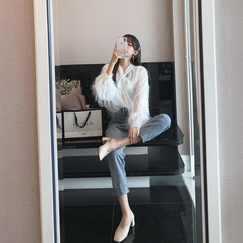 Mishow 2019 White Chiffon Long Sleeve   Shirts   Female Tassel   Blouse     Shirt   MX19A4916
